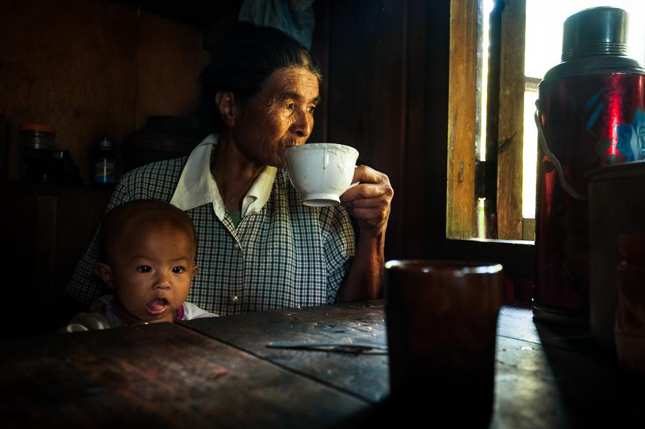 Kankanaey woman having coffee