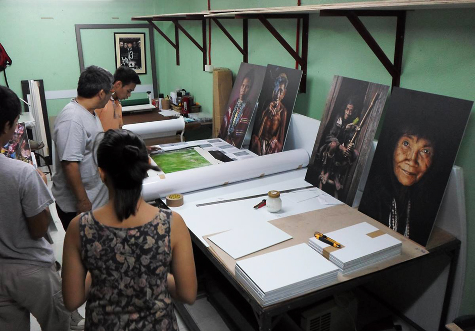 Some of the first prints being mounted at Ultra Digital Imaging Custom Lab in Cebu City. All the prints were sent by air cargo to Manila.