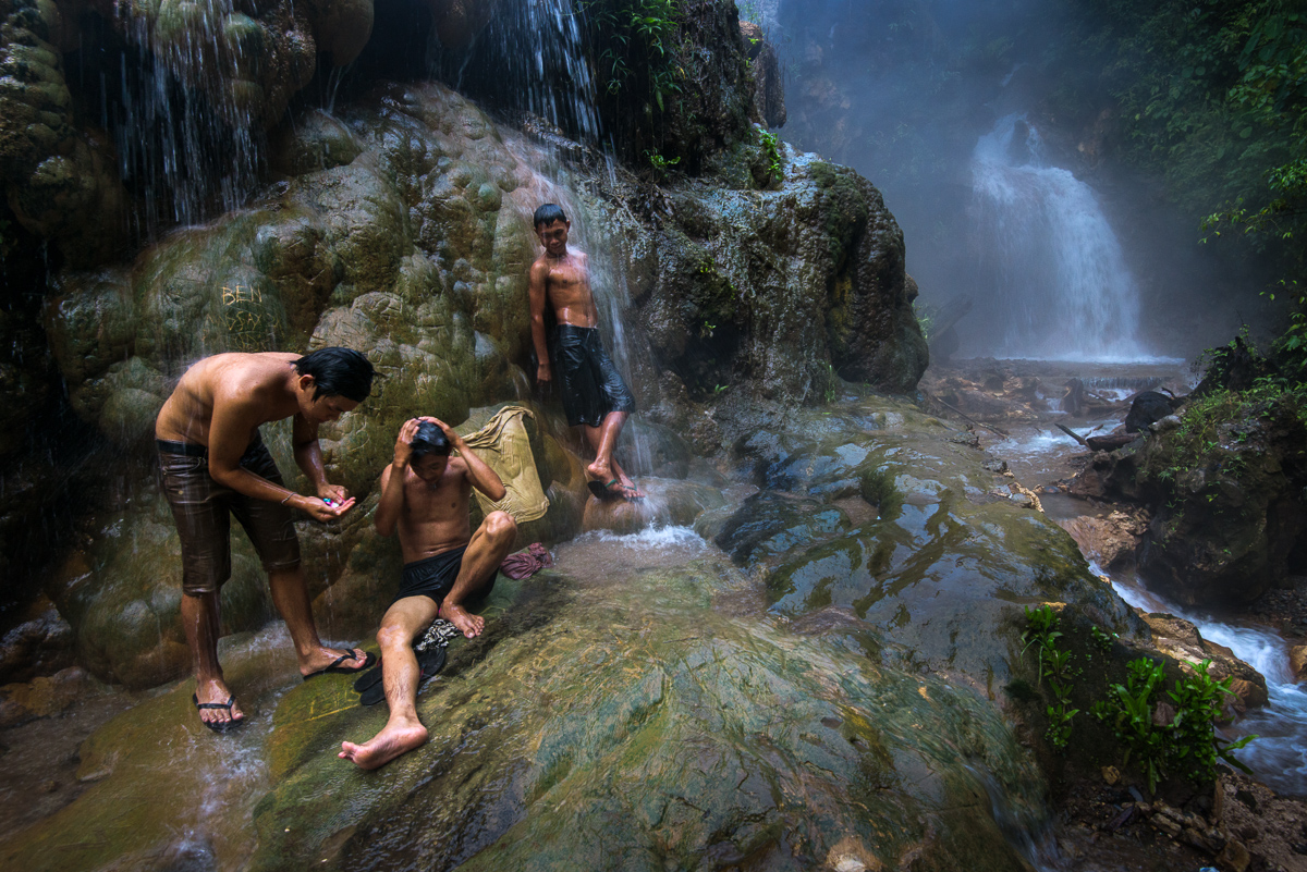 Mansaka boys bathing in Mainit Hot Spring
